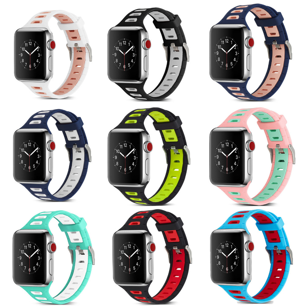 Sport silicone strap band for apple watch iwatch 3/2/1 38/42 mm bracelet wrist rubber belt watchband+metal Connector adapter silicone rubber watchband double side wearing strap for armani ar watch band wrist bracelet black blue red 21mm 22mm 23mm 24mm