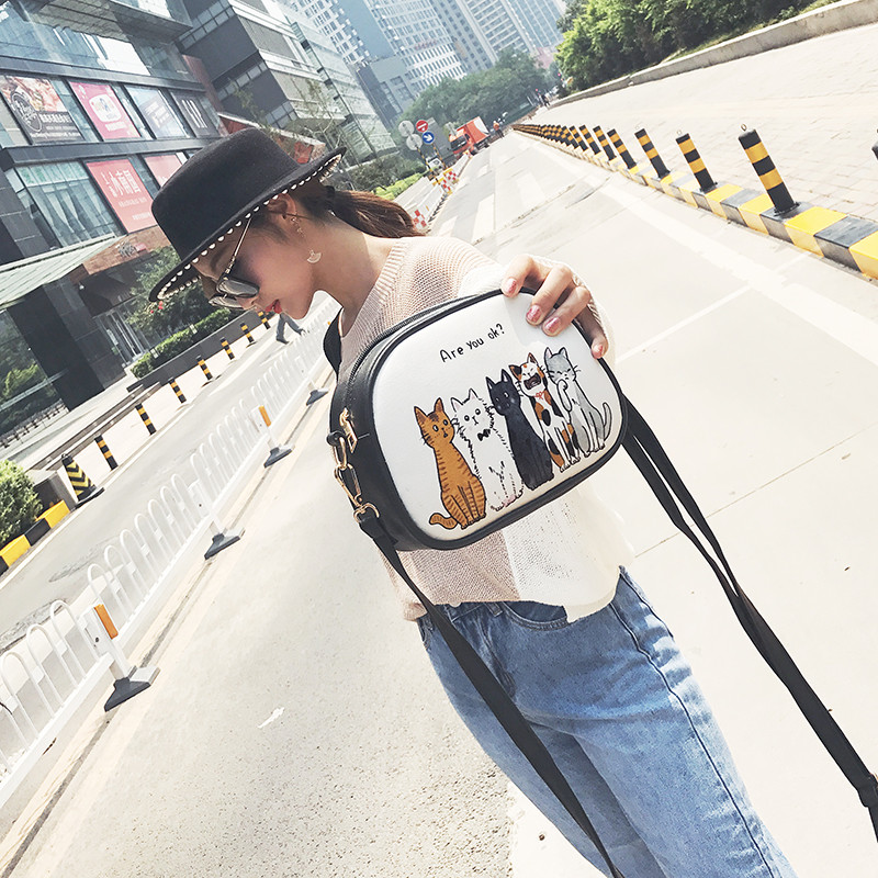 Fashion women messenger bags Handbag Lovely cat print Shoulder Bag Small Tote Ladies Purse Bag aelicy women fashion handbag crack shoulder bag large tote ladies purse messenger bag solid bag bolsa feminina bags women 0829