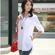 women blouses 2015 summer new large size cotton Korean fashion stand-up collar 4xl 5xl 6xl