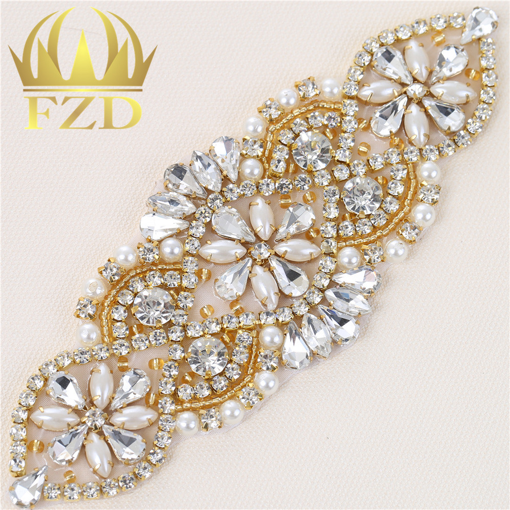 1 Pieces Wedding Rhinestones Dress Accessories Applique Gold Claw Sliver  Motif Crystals Sewing Beaded Patches For 382a83a8ad54