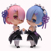 лучшая цена 2 Styles Q Ver Anime Re : Life In A Different World From Zero Nendoroid Ram Rem PVC Action Figure Doll Collectible Model Toy