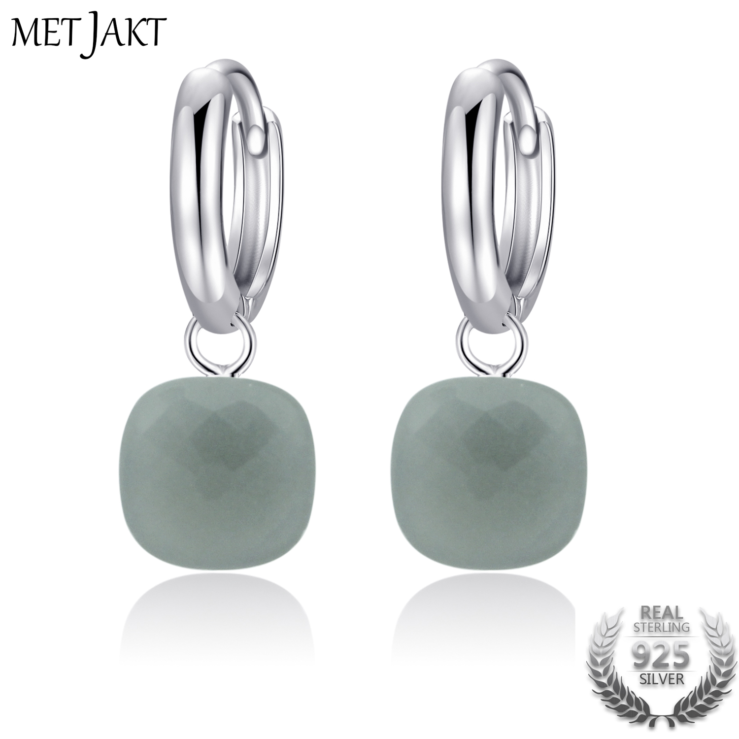 MetJakt Classic Women s Occasions Fine Jewelry Natural Gray Agate Drop Earrings Solid 925 Sterling Silver