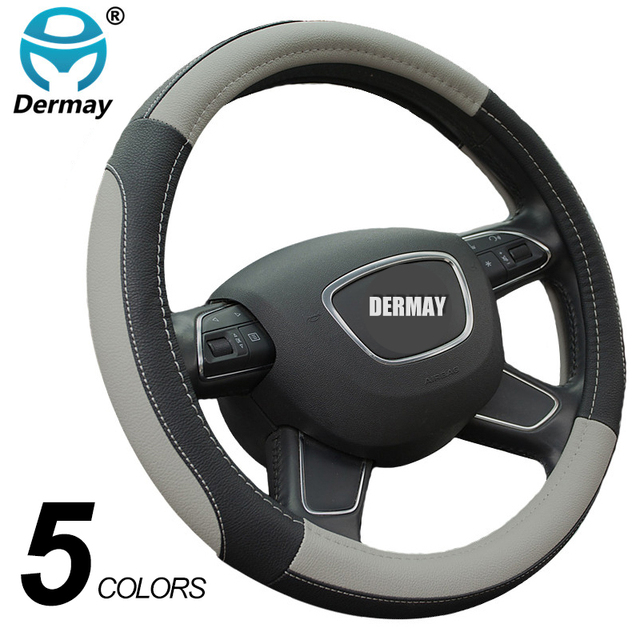 DERMAY 5Colors Leather Steering Wheel Cover Sport Style Car Covers,Fit Most Car Styling Factory Wholesale High Quality