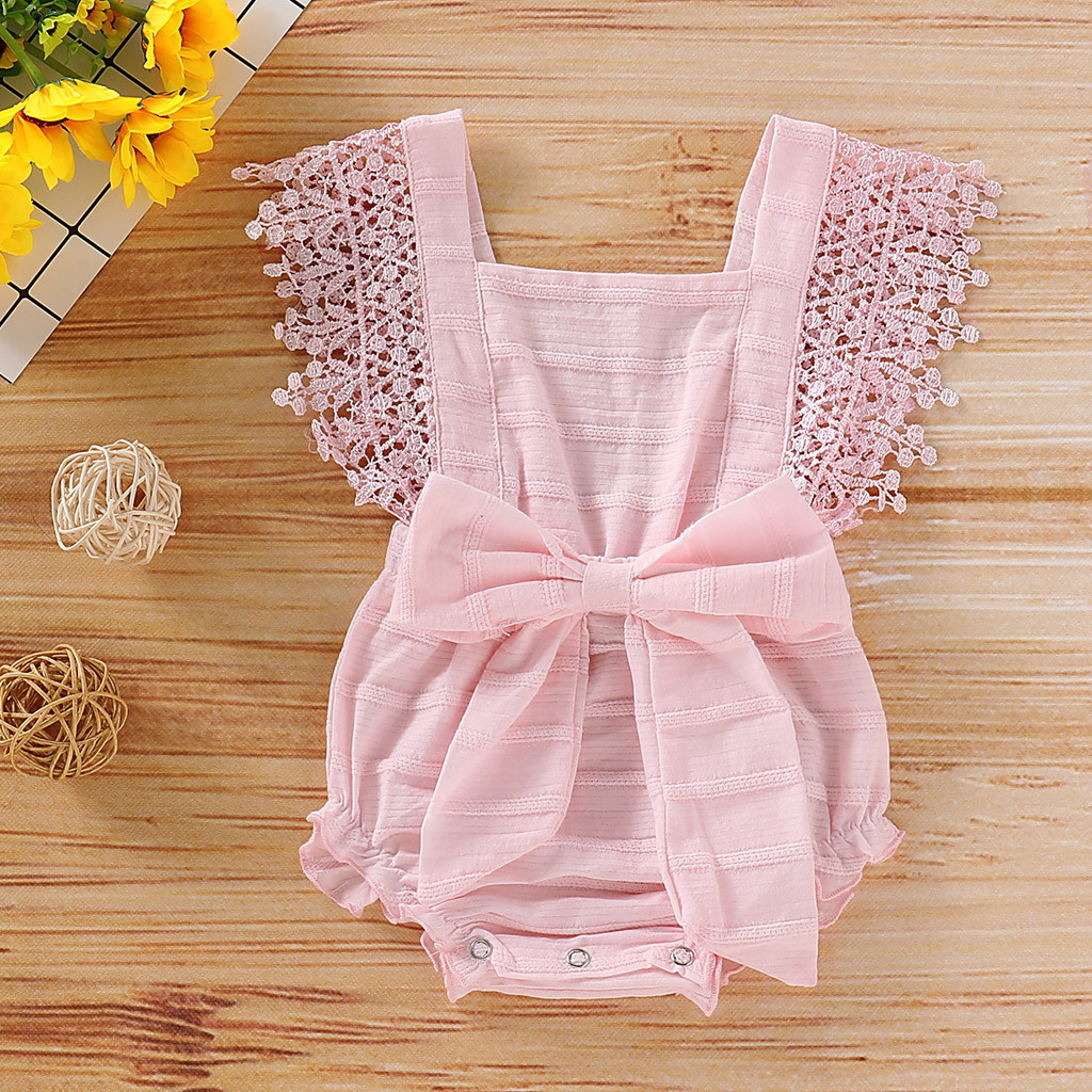 Newborn Infant Baby Girl Lace Sleeveless Solid Romper Jumpsuit Clothes