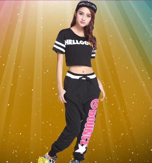 Pantalones sueltos hiphop ropa hip-hop jazz dancewear moderno traje de la danza  jazz femenino af8619be597