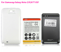 YIBOYUAN White 6500mAh Extended Battery White Back Cover USB Charger For Samsung Galaxy Note 2 II