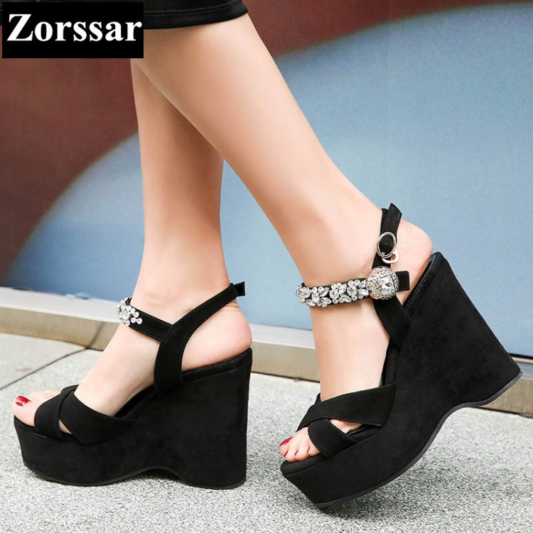 Summer shoes Women Casual Platform rhinestone High heels wedges sandals woman 2017 Fashion Suede leather womens peep toe pumps woman fashion high heels sandals women genuine leather buckle summer shoes brand new wedges casual platform sandal gold silver