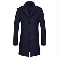 2017 new 3XL button Casual Woolen Coat Men's Wool Coats Jackets Winter Cashmere Jacket Man Long Section Single Button Overcoat