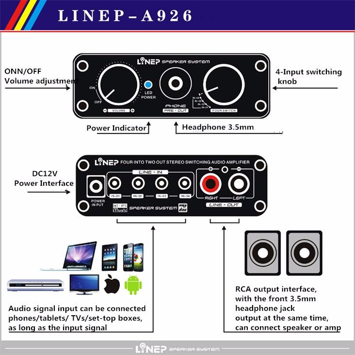2016 Brand New A926  4-In 2-Out  Mini Audio Switcher Hifi Digital Audio Headphone Amplifier Sound Processor Preamp MP3 Switcher 9