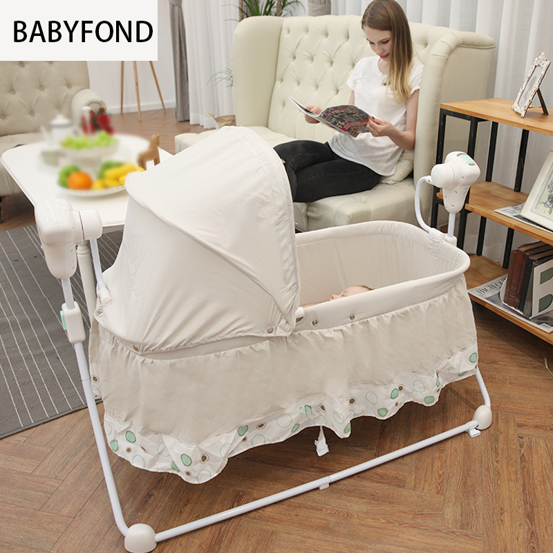 Electric shaker Baby Sleeping Bed Small Rocking Crib Table Infant Cradle Bed Automatic cradle Light safe and comfort Baby Bed