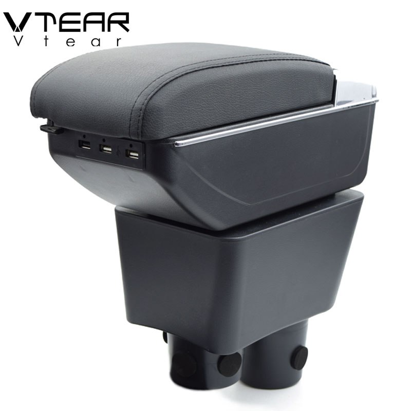 Vtear For Nissan Note armrest box USB Charging heighten Double layer central Store content cup holder