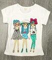 Meninas t-shirts 2016 Verão Do Bebê roupas de Menina Bobo choses pouco meninas Tees Crianças manga calções camisa dos miúdos t para Meninas Tops