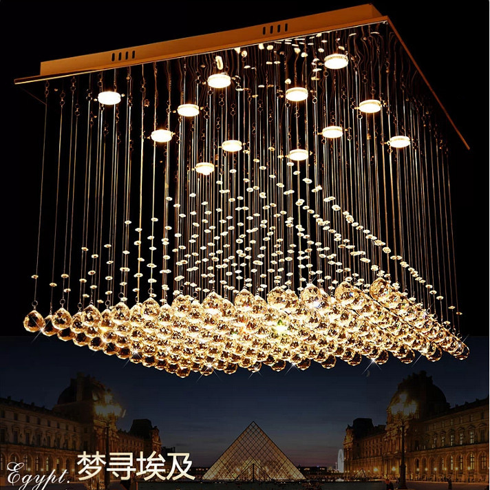 Brief modern pyramid crystal pendant light living room lights restaurant lamp lamps free shipping 80cm*80cm стоимость