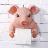 Cute Pig Towel Rack Creative European Bathroom Toilet Roll Holder Paper Cassette Holder Resin Pig Pumping Tray Decor R2033
