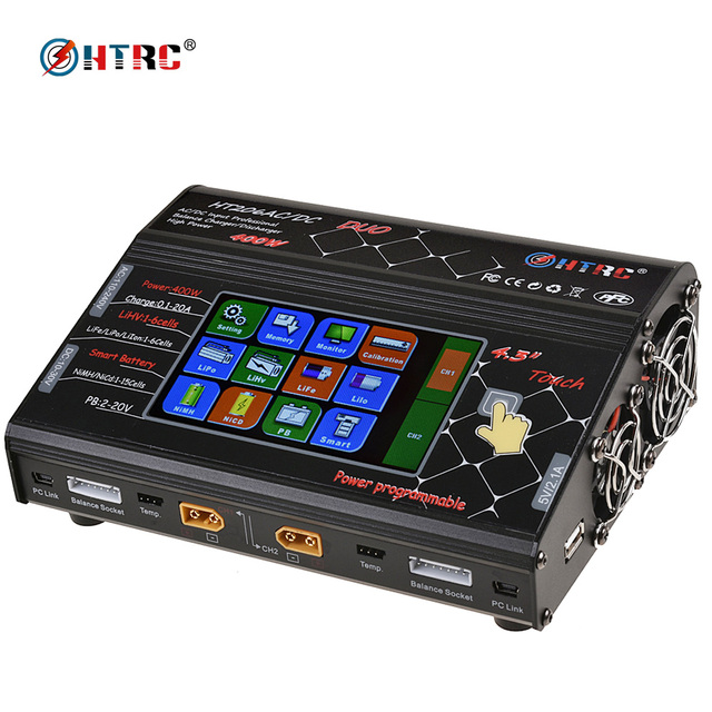 """HTRC HT206 AC/DC DUO 200W*2 20A*2 Dual Port 4.3"""" Color LCD Touch Screen RC Balance Charger for Lilon/LiPo/LiFe/LiHV Battery"""