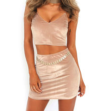 Mode Vrouwen Sexy Halter Casual Slim Fit Rok + Strap Crop Tank Top Set Zomer Effen Party Club Pak GDD99(China)