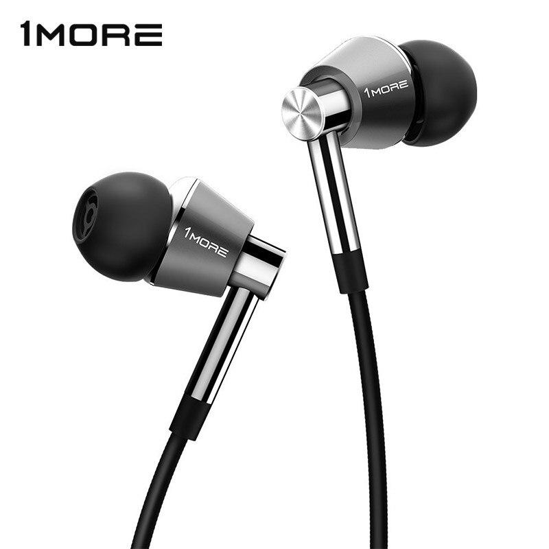 1 PIÙ Tripla Driver In-Ear Auricolari Auricolari per iOS e Android Xiaomi Telefono Cellulare Compatibile Microfono e Telecomando E1001 Titanio