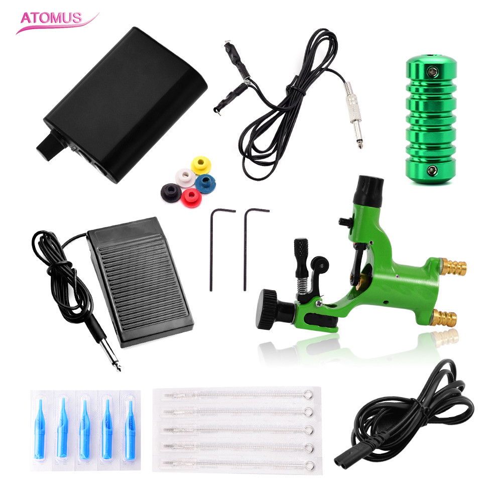 Complete Tattoo Machine Kit Set Green Tattoo Motor Guns Power Supply Foot Pedal Switch with Tattoo needle and tip accessaries