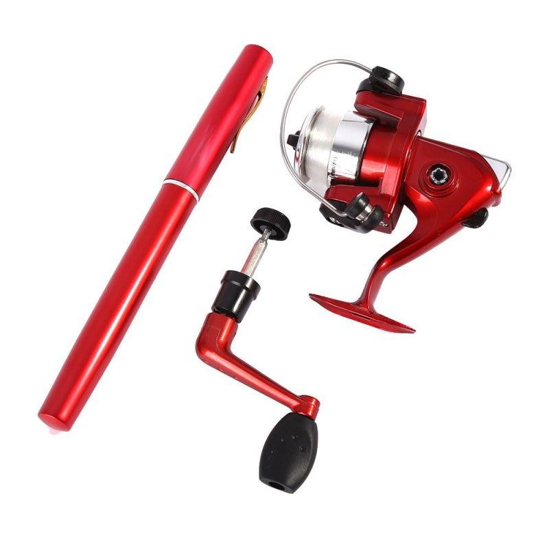 Outdoor Portable Mini Camping Travel Baitcasting Telescopic Pocket Pen Shape Fishing Rod + Reel+ Fishing line LZH7