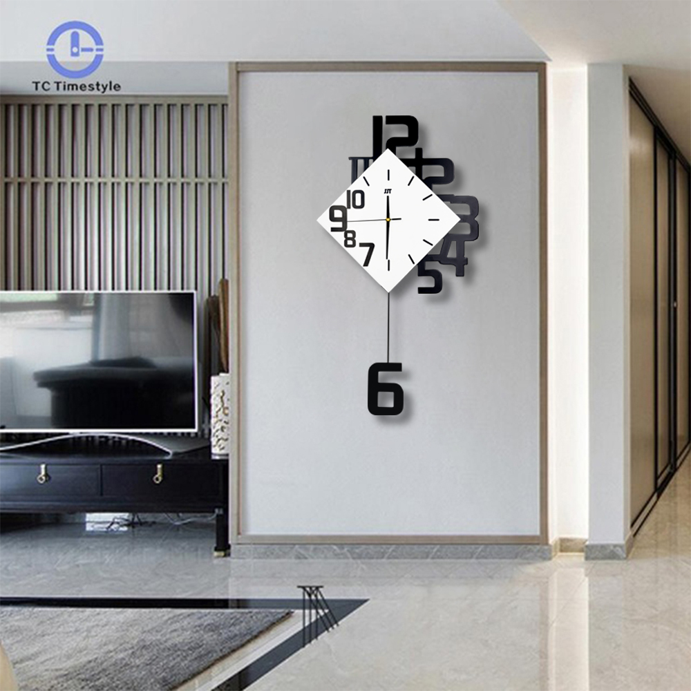 Swing Wall Clock Modern Design Nordic Style Living Room Wall Clocks Fashion Creative Bedroom Silent Quartz Watches(China)