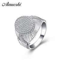 AINOUSHI Original 925 Sterling Silver Men Wedding Engagement Ring Sona Male Rings Anniversary Birthday Party Silver Jewelry Gift