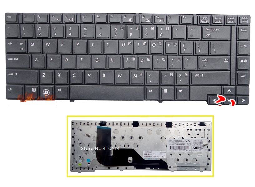 SSEA New laptop US <font><b>Keyboard</b></font> for <font><b>HP</b></font> Compaq <font><b>ProBook</b></font> <font><b>6450B</b></font> 6455B 6440B 6445B image