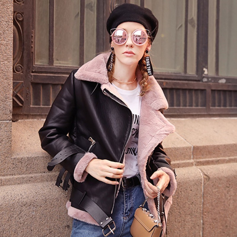 Winter Thick Fur   Leather   Jacket Women Bomber Coat Motorcycle Lambs Wool Coats Biker Outerwear New Chaqueta Piel Mujer Warm P1639