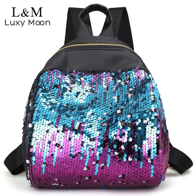 Luxy moon Glitter Backpack Women Sequins Leather Backpacks Fashion Teenage  Girls School Bag Shiny Shoulder Bags