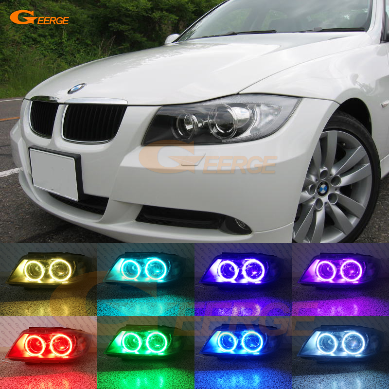 For BMW 3 Series E90 E91 2005 2006 2007 2008 Xenon headlight Excellent Multi-Color RGB LED Angel Eyes kit halo rings super bright led angel eyes for bmw x5 2000 to 2006 color shift headlight halo angel demon eyes rings kit