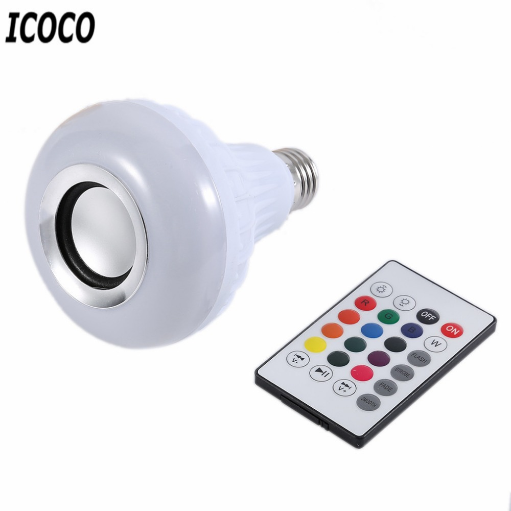 ICOCO E27 Wireless Bluetooth Remote Control LED Music Bulb Mini Smart Audio Speaker Colorful Music Playing and Lighting