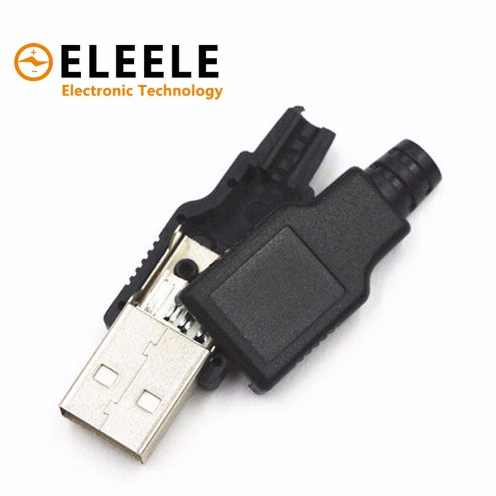 цена на hot New 10pcs Type A Male USB 4 Pin Plug Socket Connector With Black Plastic Cover PN35