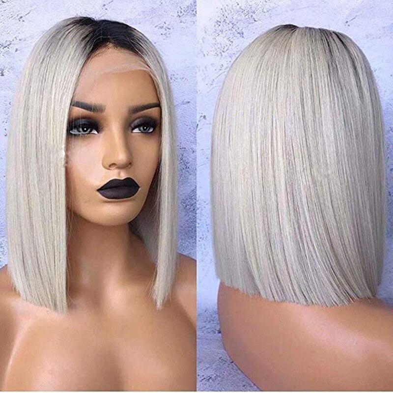 DLME 180% густина сріблясто-сірого перуку Glueless Синтетичний фронт перуку з дитячим волоссям 14inch Ombre Короткі перуки для чорношкірих жінок