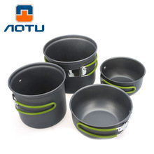 4pcs Outdoor Camping Hiking Cookware Backpacking Cooking Picnic Bowl Pot Pan Set Free Shipping