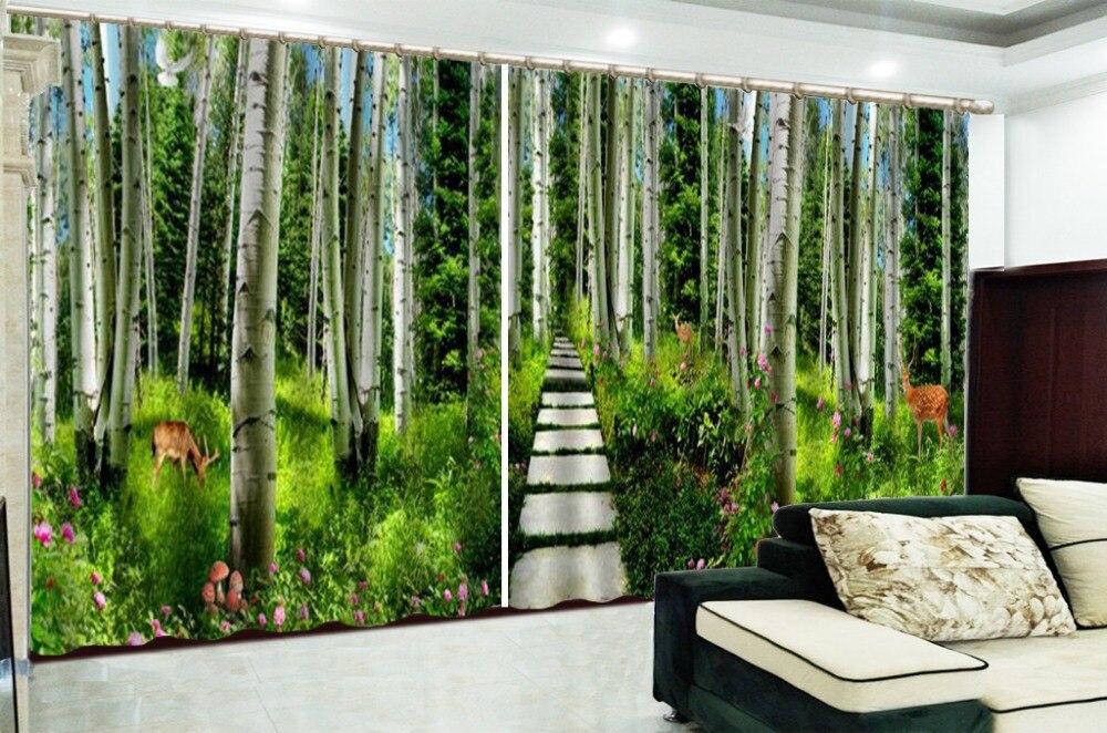 Aangepaste Gordijnen Groene Bamboe Kreek Water Pruim Herten 3d Landschap Gordijn Decoratie Indoor High End Beauty - 2