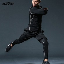 Men Compression Sport Suits Breathable Sportswear Man Elastic Tracksuit Clothes Sports JoggingTraining Gym Fitness Running Sets