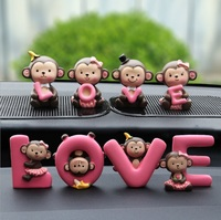 New Car Styling Car Decoration Cartoon Cute Monkey Love Pink Dolls Ornaments Oyuncak Fashion Vehicle Interior