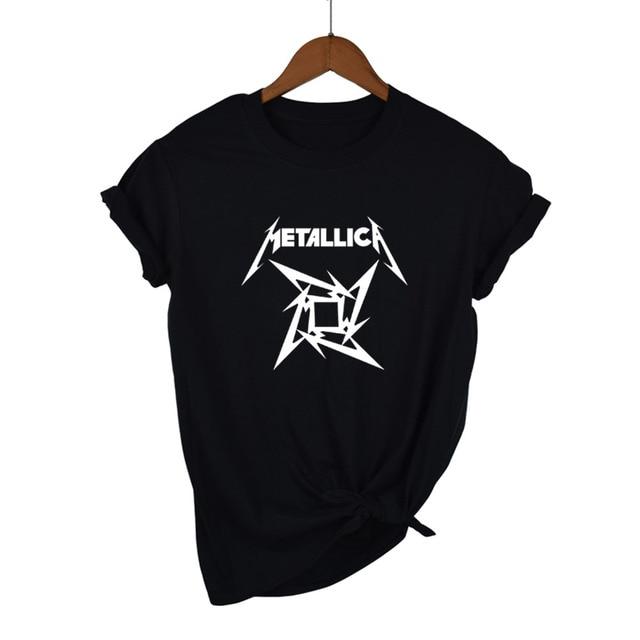 Camisetas MeTallica para mujer Heavy Thrash Metal Rock manga corta Camiseta  algodón Rock Band camiseta Camisetas 0149a52fe495a