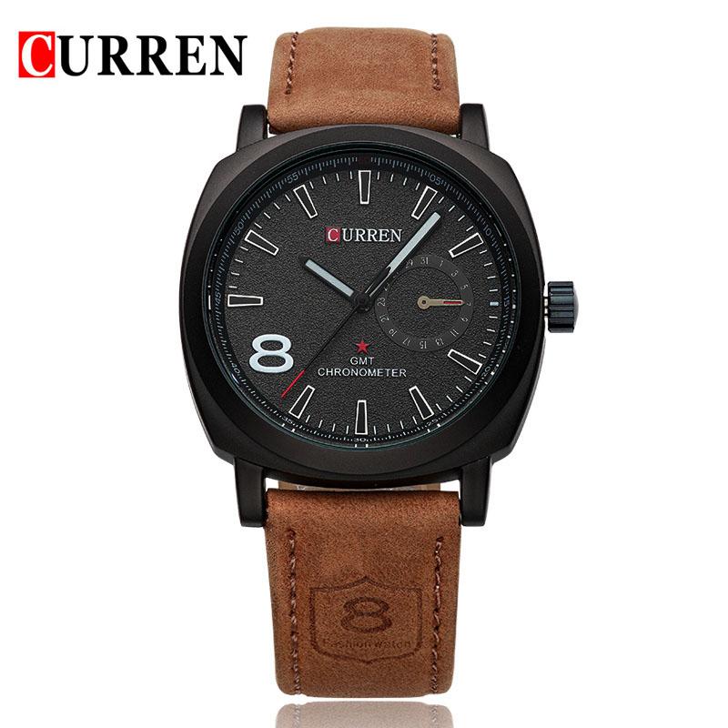 Prix pour Curren 8139 Marque De Luxe Sport Hommes Montre À Quartz De Mode Casual Montre-Bracelet Militaire de L'armée Bande de Cuir Montres Reloj Masculino