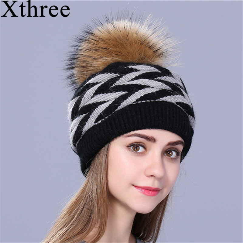 Xthree Double-deck Rabbit Fur Knitted Winter Hat For Women Real  Fur Pom Pom Hat Female Hat Cap For Girl Skullies Beanies