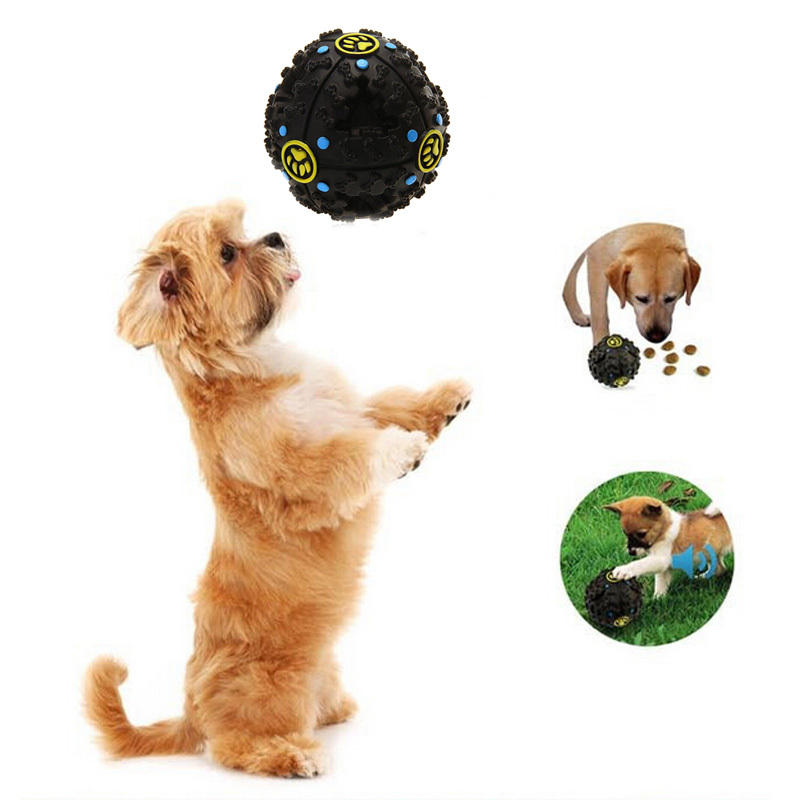 Pet Dog Cat Food Dispenser Toy Ball Squeaky Quack Sound Training Toy Chew Pet Puppy Cat Funny Leakage Pick Up Food Dog Toys