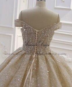 Image 5 - Amanda Design Top Quality Off Shoulder Pleated Champagne Shiny Luxury Wedding Dress