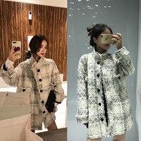 New Autumn Spring Vintage Women Jacket Coat Tweed lattice Long Sleeve Outerwear Streetwear elegant Ladies Casual Loose Boho