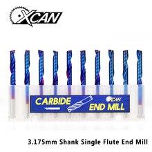 XCAN 10 шт. 3,175 хвостовика синий покрытием Одна Флейта с ЧПУ для вырезания гребней и Вольфрам твердосплавные спиральные концевые фрезы Резак 2/2. 5/3. 175 мм