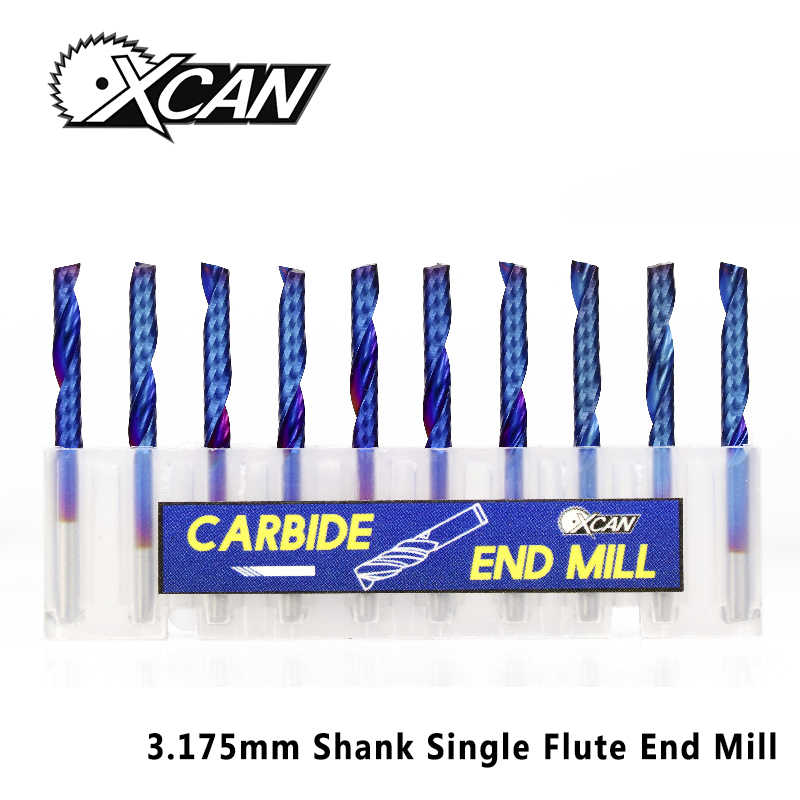 XCAN 10pcs 3.175 Shank Blue Coated Single Flute CNC Router Bit Tungsten Carbide Spiral End Mills Milling Cutter 2/2.5/3.175mm