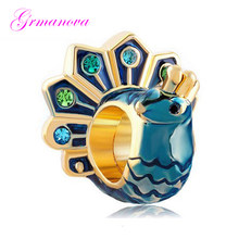 Blue enamel peacock open screen gold charm beads handmade DIY jewelry accessories amulet Fit Pandora Bracelet Necklace(China)
