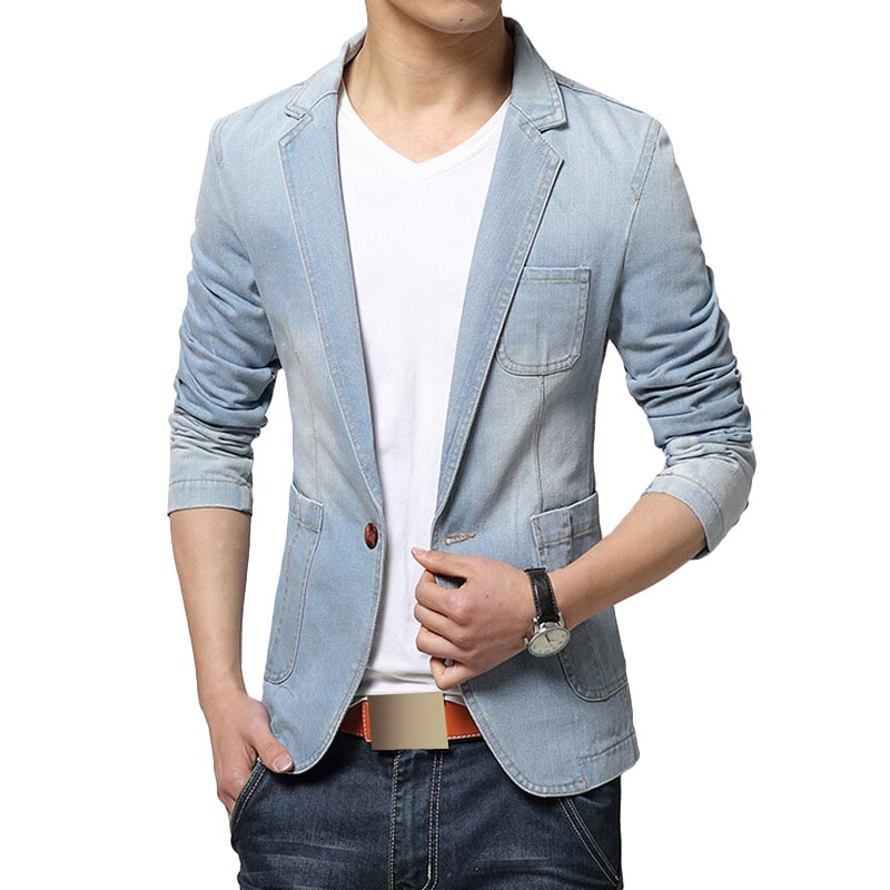 Blazer Men Trend Jeans Suits Men's Casual Suit Jean Jacket Mens ...