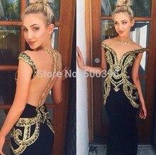 Sexy Sheer Zurück Abendkleid 2017 Mantel Abendkleid Schwarz Chiffon mit Goldene Dekoration Bodenlangen Formale Kleider vestidos