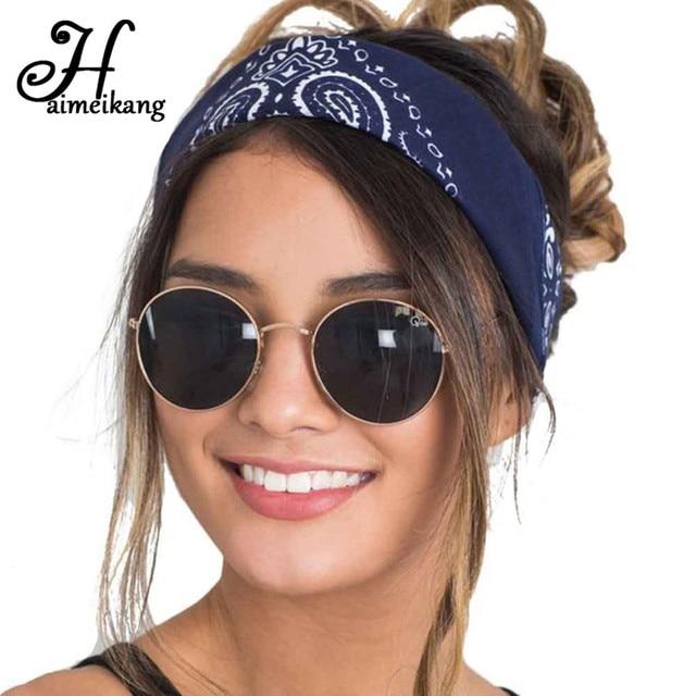 Haimeikang Cashew Flowers Printed Elastic Hair Bands Headbands for Women  Sports Yoga Bandana Turban Headwear Hair Accessories 59ad60b16b5