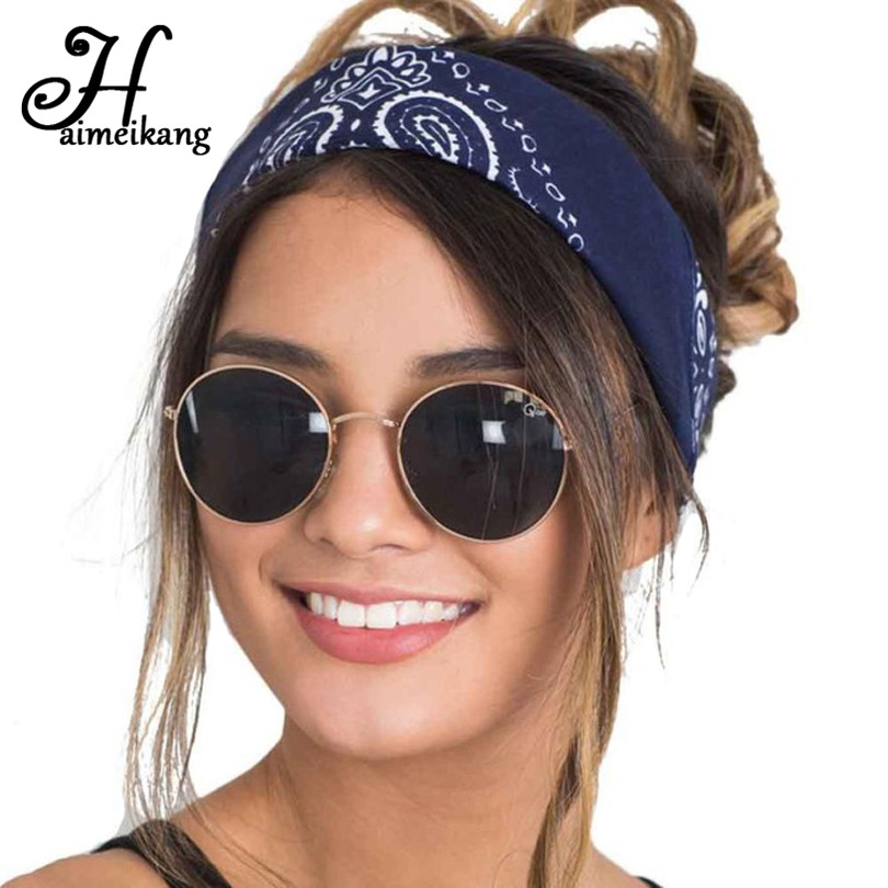 Haimeikang Cashew Flowers Printed Elastic Hair Bands Headbands for Women Sports Yoga Bandana Turban   Headwear   Hair Accessories