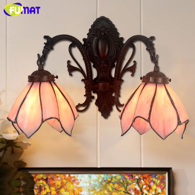FUMAT Glass Wall Lamp Art Pink/ White Stained Glass Shade Lights For Living Room Bedside Lamps Hotel LED Wall Sconce Lights